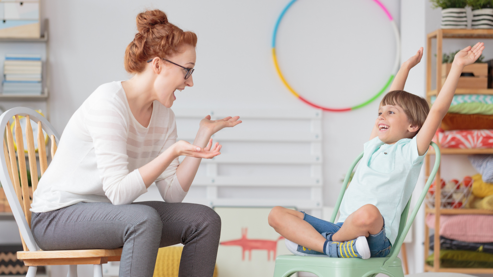 A happy mom talking to her son with ADHD
